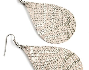 SUMMER VACATION FLASH Genuine Leather Teardrop Earrings // Large Teardrop or Mini Teardrop Leather Earrings  in Pink and Silver Snake  // Le