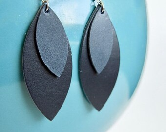 SUMMER VACATION FLASH Navy Blue Stacked Leather Leaf Earrings // Genuine Leather Dangle Earrings: Leafy Treetop Leather