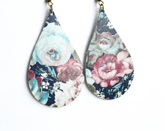 Floral Leather Earrings in Blue and Blush Wild Roses //Mini Teardrop Floral Leather Earrings