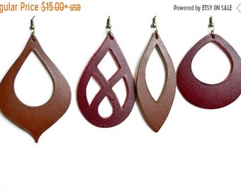 SUMMER VACATION FLASH Large Statement Leather Earrings: Leather Cut Out Earrings // Select Your Style