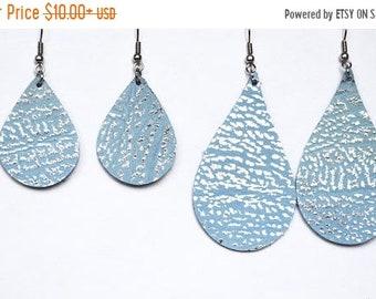 SUMMER VACATION FLASH Pale Blue and Silver Leather Teardrop Earrings  // Light  Blue Leather Earrings // Mini Teardrop  Large Teardrop Earri