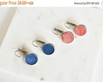 SUMMER VACATION FLASH Red or Blue Leather Earrings  // Dainty Leather Lever Back Earrings // Your Choice of Color // Leafy Treetop Leather