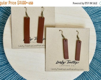 SUMMER VACATION FLASH Saddle Brown Rectangular Leather Bar Earrings:  Medium Brown  Leather Bar Earrings // Choose your size and shape