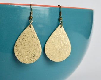 Brushed Buttercream Yellow  Leather Earrings // Yellow Mini Teardrop Leather Earrings // Leather Earrings // Mini Teardrops