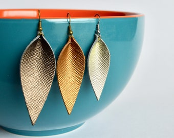 Metallic Leather Leaf Earrings: Joanna Gaines Inspired Leather Leaf Earrings // Rose Gold, Silver, Copper, Gold, Bronze