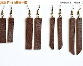 SUMMER VACATION FLASH Warm Medium Brown  Leather Bar Earrings: Leather Strip Earrings // Choose your size and shape