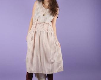 80s Dress // 80s Vintage Dress //  Drop Waist Cream Dress Midi Dress Size Large S M L