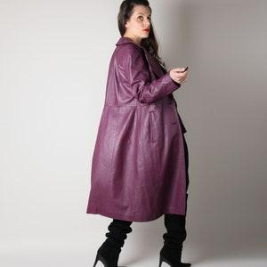 60s 70s Metallic Purple Leather Coat /& Matching Hat  MOD Lavender Purple Iridescent Leather Jacket and Hat  Metallic Leather Trench Coat