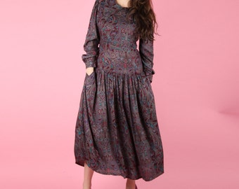 Late 70s Vintage Psychedelic Paisley Dress XS S