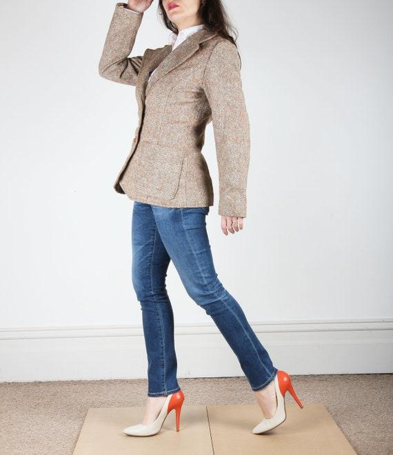 70s Vintage Blazer // Tweed Blazer Jacket // Brown