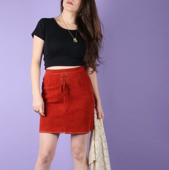 70s Vintage Skirt // 70s Suede Mini Skirt // Boho