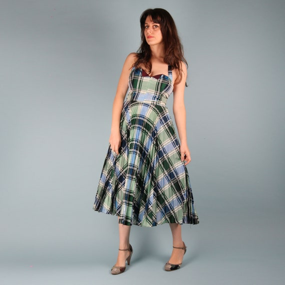 70s Does 50s Vintage Dress // 50s Checkered Dress… - image 4