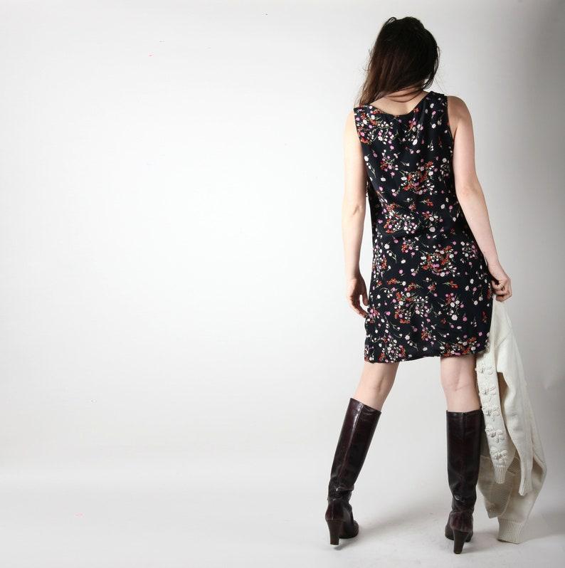 90s Vintage Dress  90s Floral Dress  Black Vintage Dress Summer Dress Shift Dress Size Small S