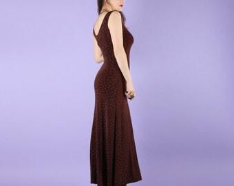 90s Vintage Slinky Brown Dot Maxi Dress