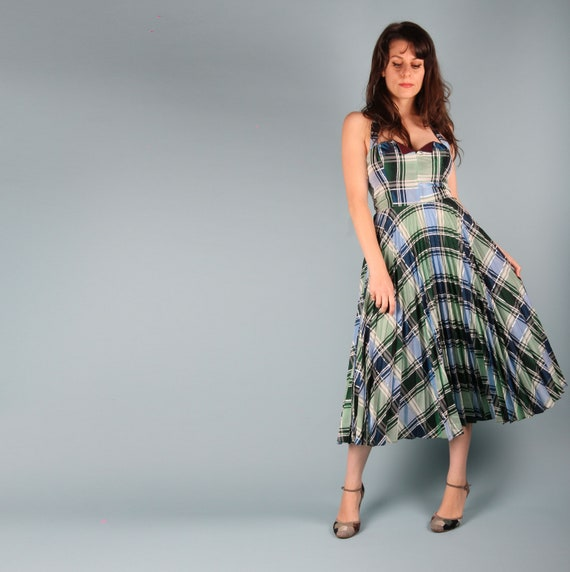 70s Does 50s Vintage Dress // 50s Checkered Dress… - image 6