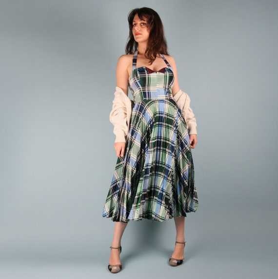 70s Does 50s Vintage Dress // 50s Checkered Dress… - image 2