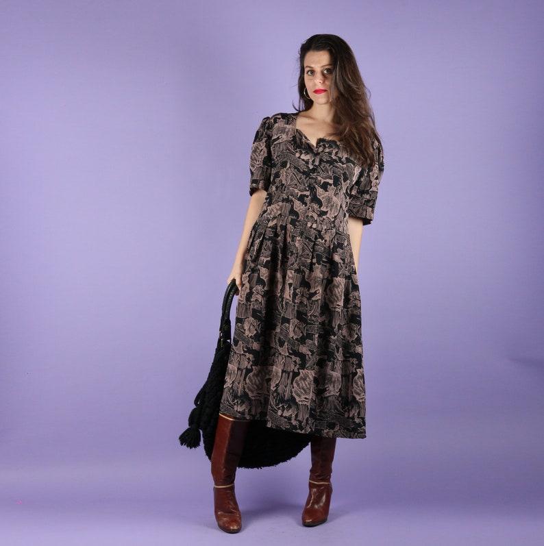 e011755b1ff 80s Dress    80s Vintage Dress    Vintage Midi Dress Casual