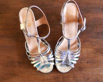 Silver Heels // Silver Sandals // 70s Vintage Heels // 70s Vintage Silver Strappy Heels 70s Dico Shoes Size 36.5