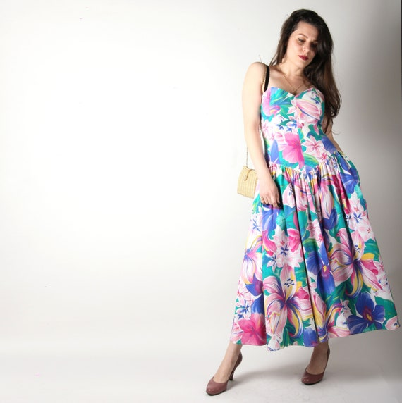80s Vintage Dress // Strapless 80s Prom Dress //