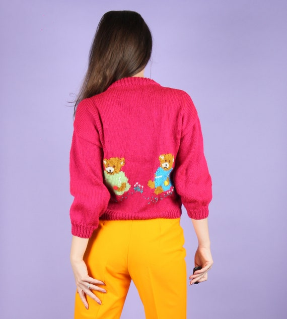 Vintage 80s Bright Red Yellow Bears /& Cats on Umbrellas Novelty Sweater KIDS SIZE