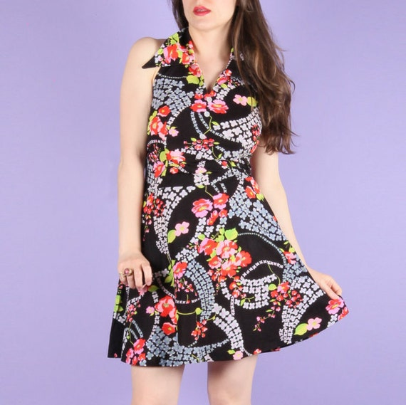 VINTAGE 1970s FLORAL HALTER Dress     \u2014 70s floral dress \u2014 vintage floral dress \u201470s halter maxidress