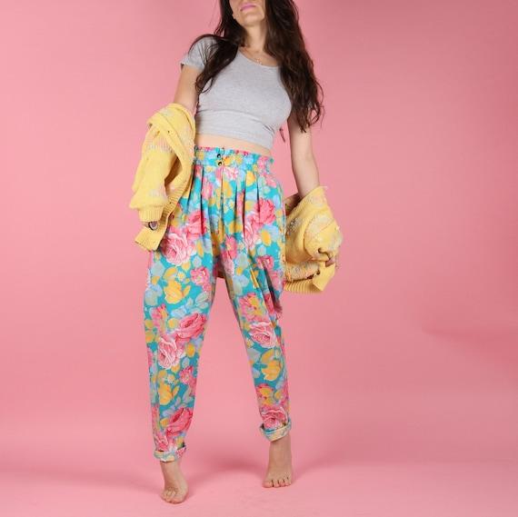 80s Vintage Floral Pants // 80s Balloon Pants // Q