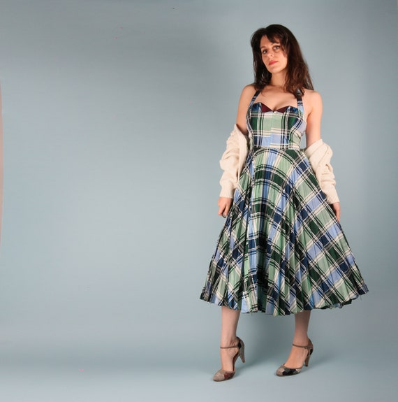 70s Does 50s Vintage Dress // 50s Checkered Dress… - image 9