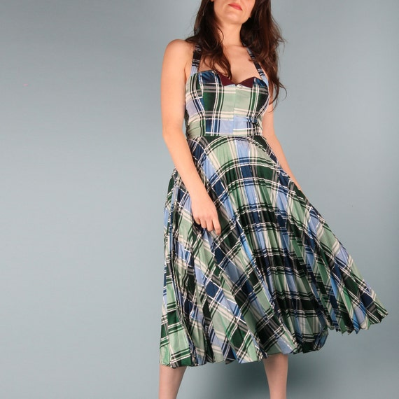 70s Does 50s Vintage Dress // 50s Checkered Dress… - image 3