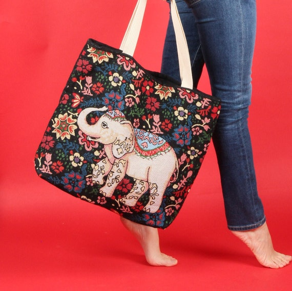 Tapestry Elephant Bag // Tapestry Shopping Tote //