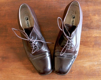 Vintage Brogues // 90s Vintage Brogues // Vintage Lace Up Shoes Brown Leather Lace Up Brogues 40s Style Leather Shoes Size 37