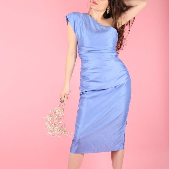 80s Vintage Cocktail Dress // Cornflower Blue Form