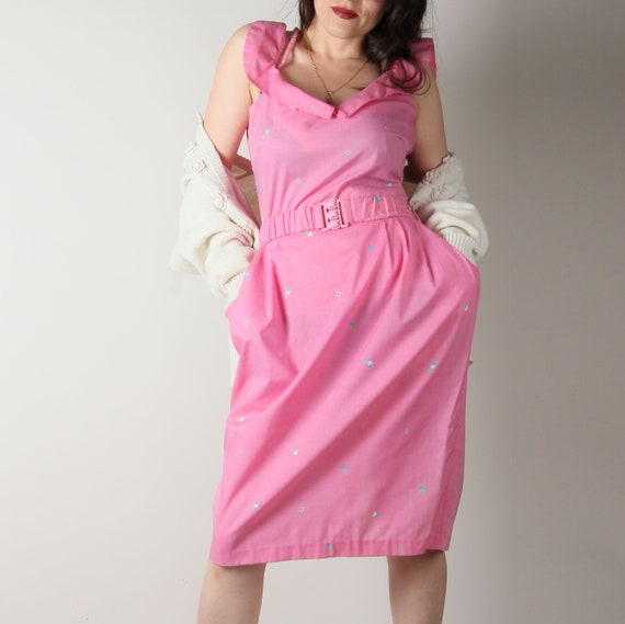 80s Vintage Dress // Pink 80s Does 50s Dress // Ca