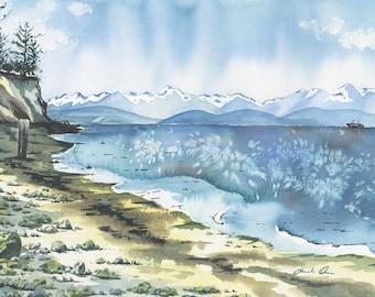 Haystack Butte Augusta Montana pnw big sky Original Watercolor painting panoramic artwork Matted in steel grey