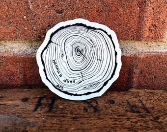Vinyl Tree stump, Decal, die-cut, Whidbey Island, PNW sticker, Car decal, Pacific Northwest art
