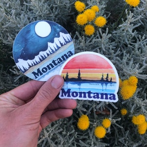 skyline small 2 Vinyl Montana watercolor decal 5 pack sunset tough all weather sticker tree line Big Sky State pacific northwest art