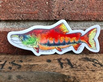 Vinyl sockeye salmon decal, pnw car decal, die-cut, fishing, Washington State, Pacific Northwest Art
