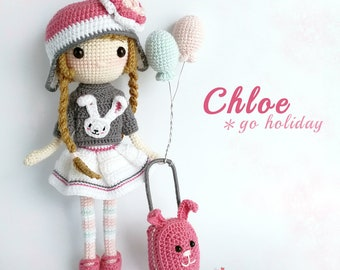 Crochet Doll Pattern / Amigurumi Doll Pattern / Chloe Go Holiday / PDF Crochet Doll Pattern / Instant Download