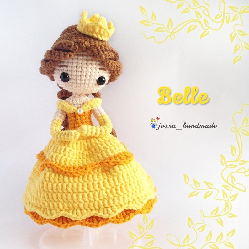 Princess Belle Inspired Crochet Doll Pattern Amigurumi Doll image 0