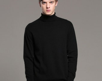 Men's 100% Cashmere turtleneck Sweater - Hand knitted