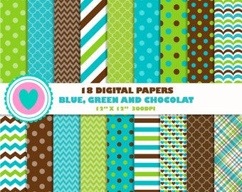 18 DIGITAL PAPERS blue, green chocolat, birthday