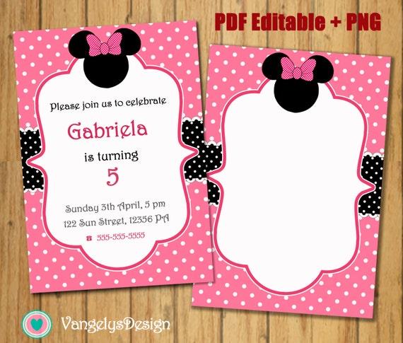TARJETA INVITACION EDITABLE Minnie Mouse rosa para Etsy