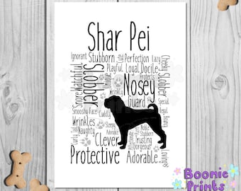 "Shar Pei Print Art Work Typography On A4 Top Quality Card 10""x8"""