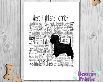"West Highland Terrier Word Print Typography A4 Top Quality Card 10""x8"""