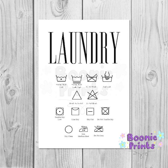 Laundry Symbols Washing Instructions Quote A4 Card Print Etsy