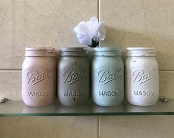4 Distressed Mason Jars - Chalk Painted, Gloss Finish Pint Size
