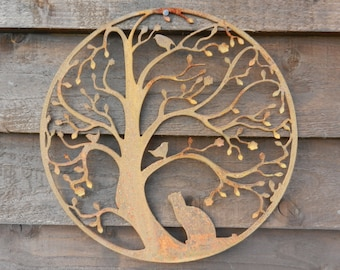 Cat and Bird in Tree Wall Hanging Art / Rusty Metal Wall Art / Mother's Day Garden Decor / Cat Lover Gift / Cat Metal Art /Garden Wall decor