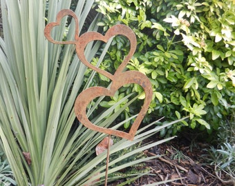 Heart Rusty Metal Art / Wedding Gift Heart on a Stake / Heart Metal Garden Decoration / Heart Gift / Anniversary Gift / Wedding Decoration