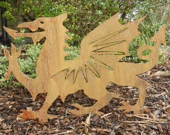 Rusty Metal Welsh Dragon / Welsh Dragon Garden Art / Welsh Gift / St Davids  Day Gift / Metal Garden Sculpture / Rusty Metal Dragon Sculpture