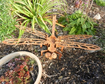 3D Dragonfly 70cm LARGE / 3D Metal Dragonfly Garden Art / Metal Dragonfly  Gift / Rusty Metal Dragonfly Garden Decor / Metal Garden Sculpture
