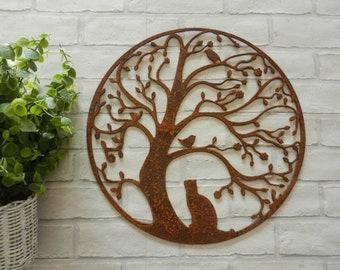 Cat and Bird in Tree Wall Hanging Art / Rusty Metal Tree of Life Wall Art / Cat Garden Wall decor with rusty metal birds